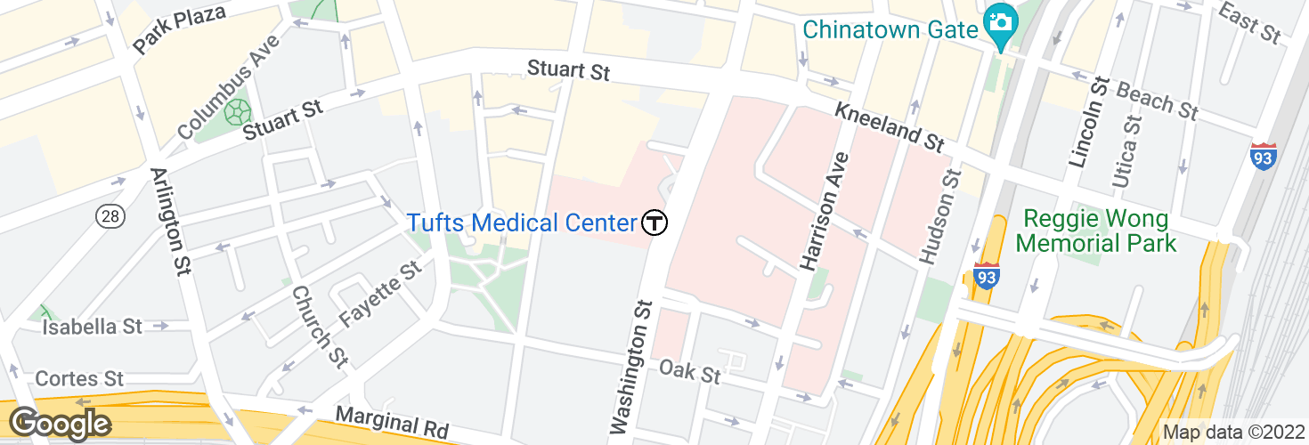 Map of Tufts Medical Center and surrounding area