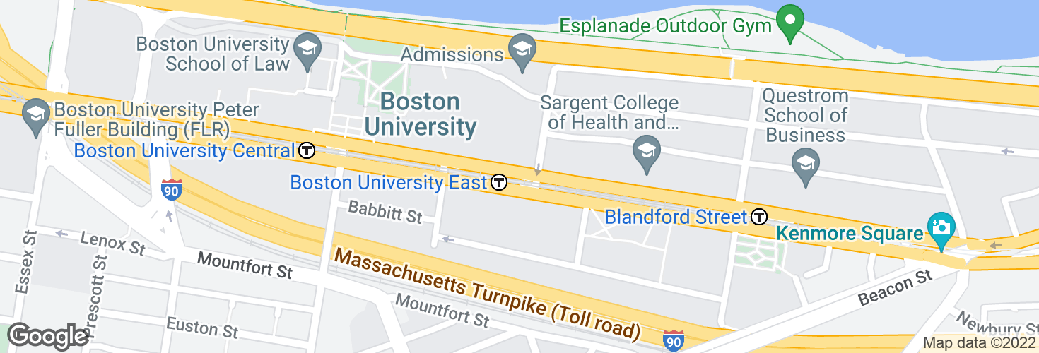 Map of Boston University East and surrounding area