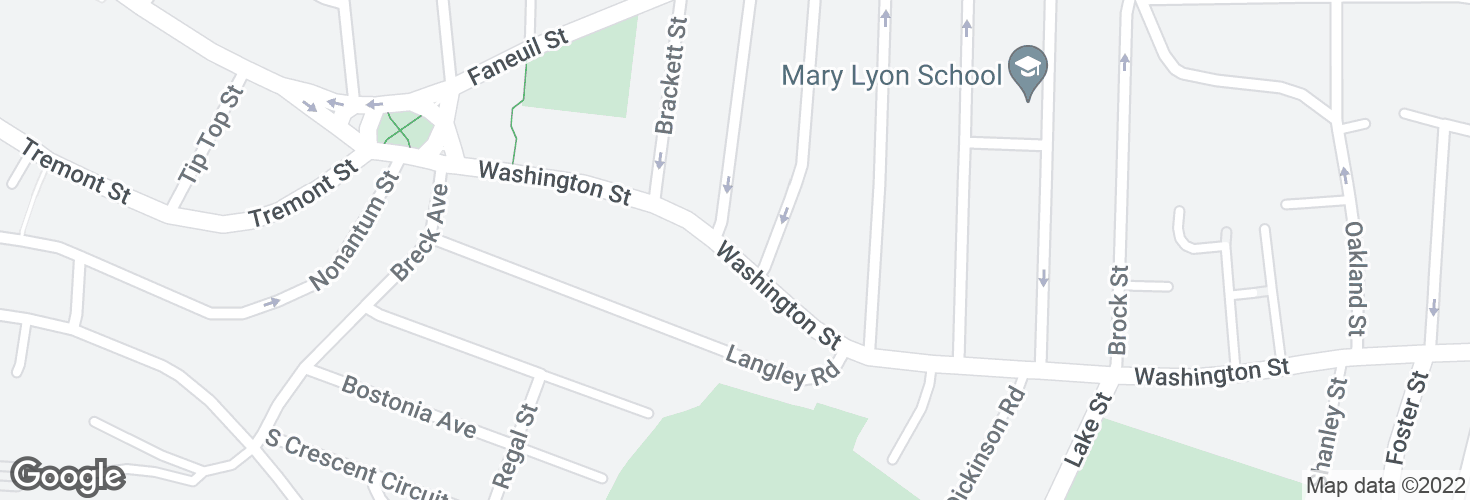 Map of Washington St @ Oak Square Ave and surrounding area
