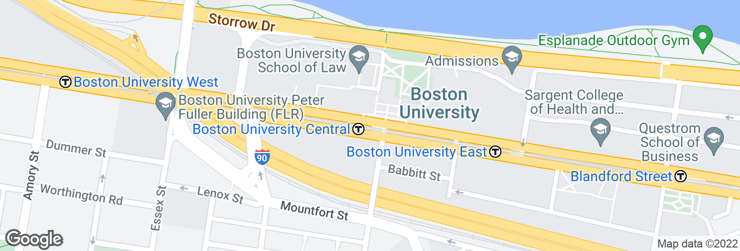 Map of Boston University Central and surrounding area