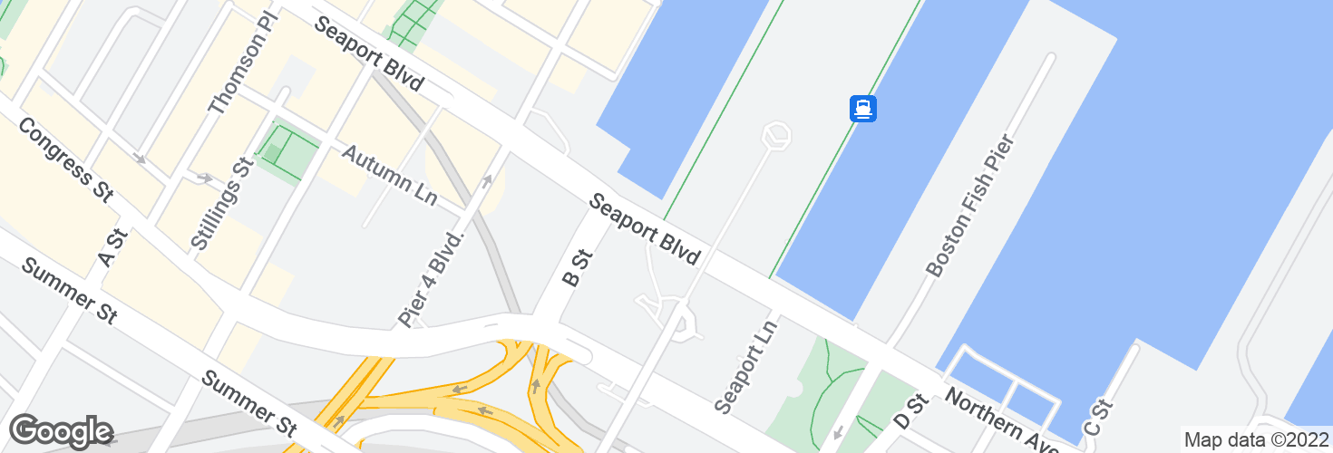 Map of Seaport Blvd @ World Trade Center opp Seaport Htl and surrounding area