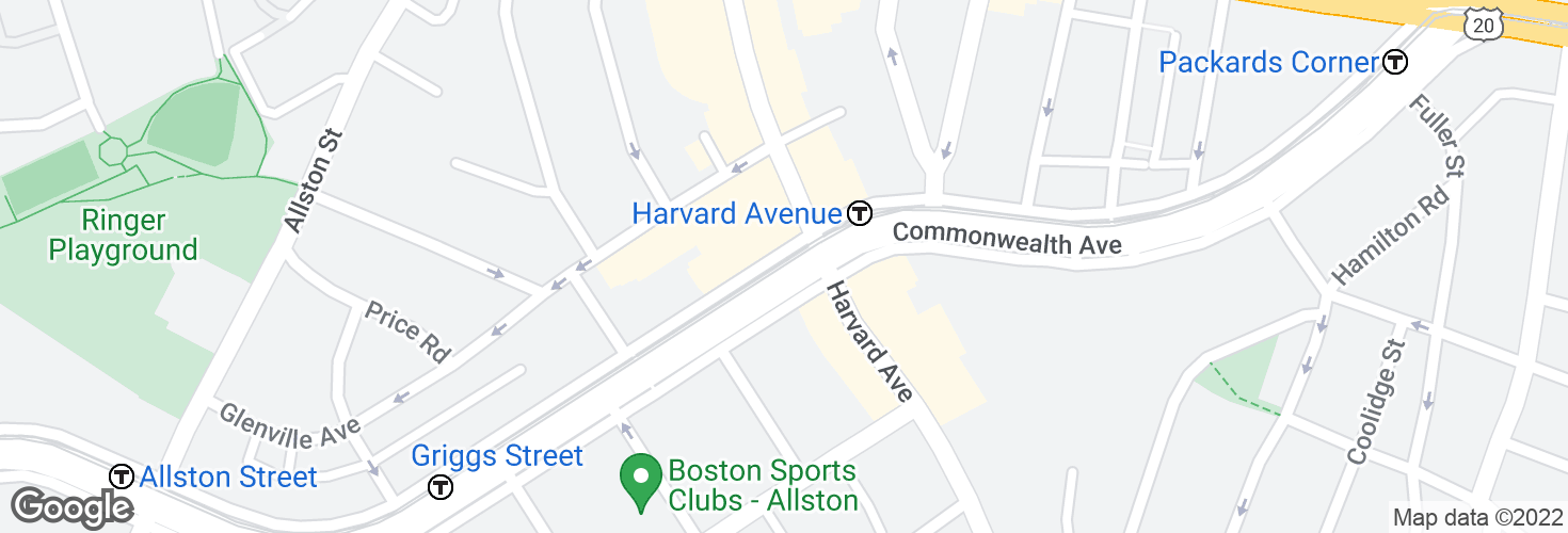 Map of Harvard Avenue and surrounding area