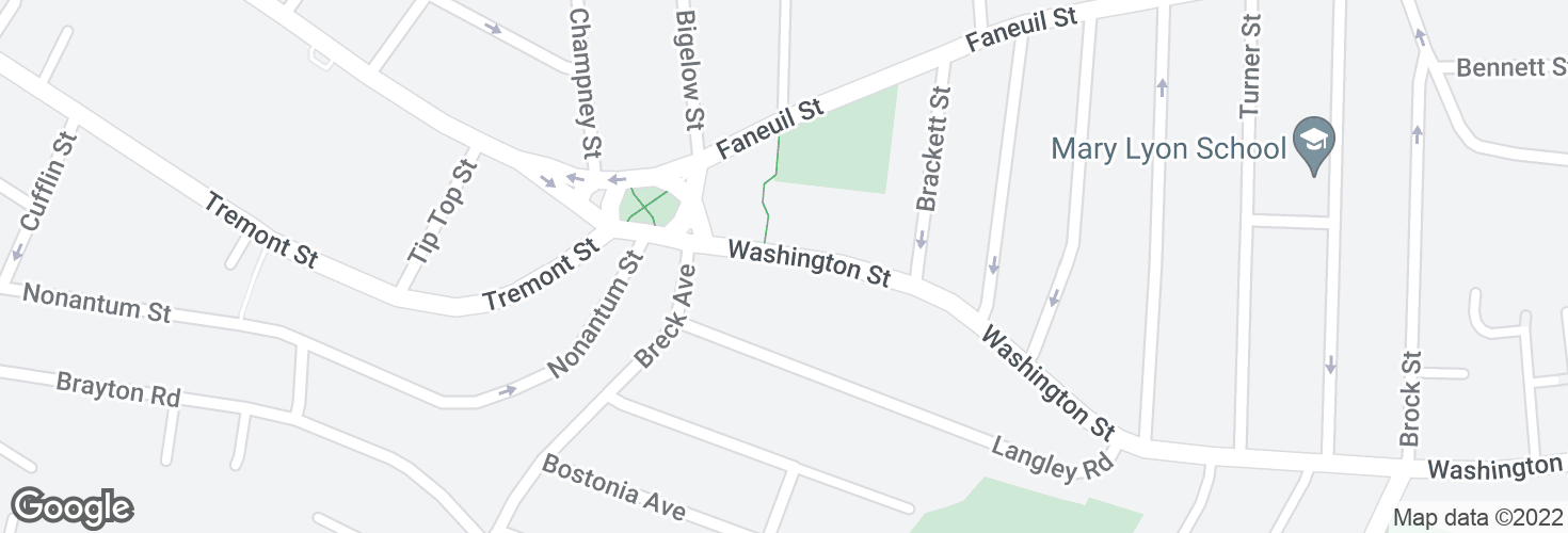 Map of Washington St @ Breck Ave and surrounding area