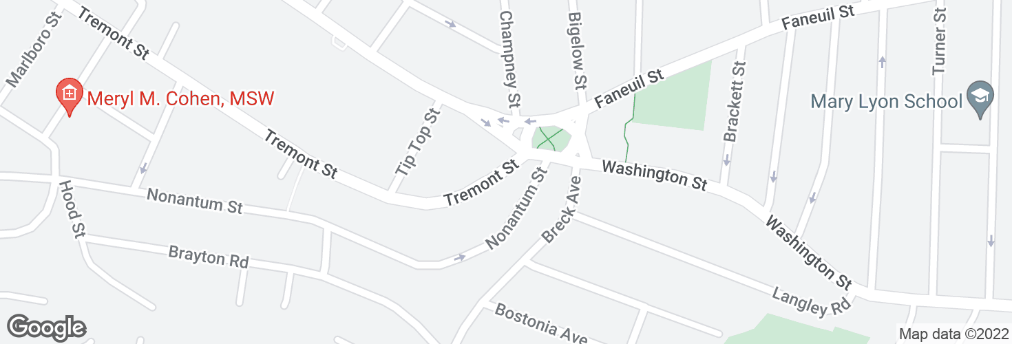 Map of Tremont St @ Washington St and surrounding area