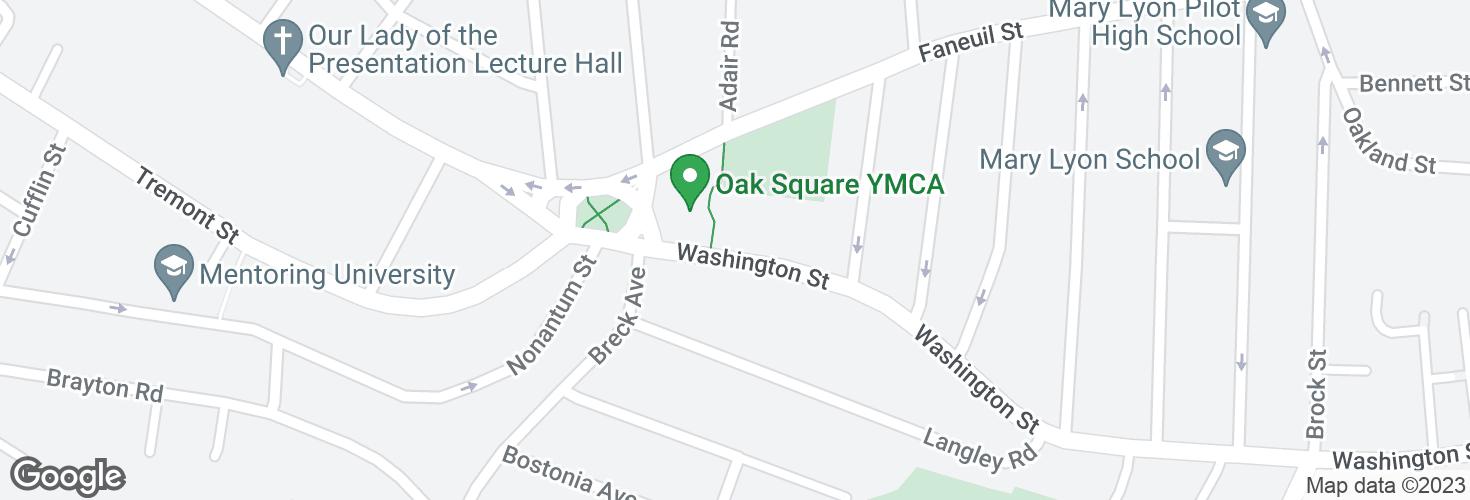 Map of Washington St @ Oak Sq and surrounding area