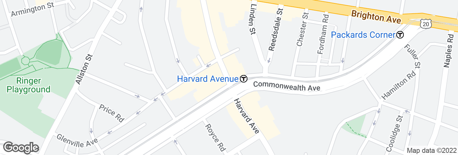 Map of Harvard Ave @ Commonwealth Ave and surrounding area