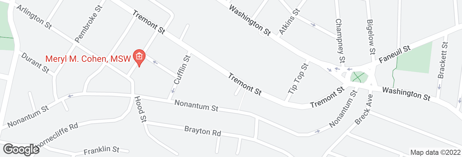 Map of Tremont St @ Tremont Pl and surrounding area