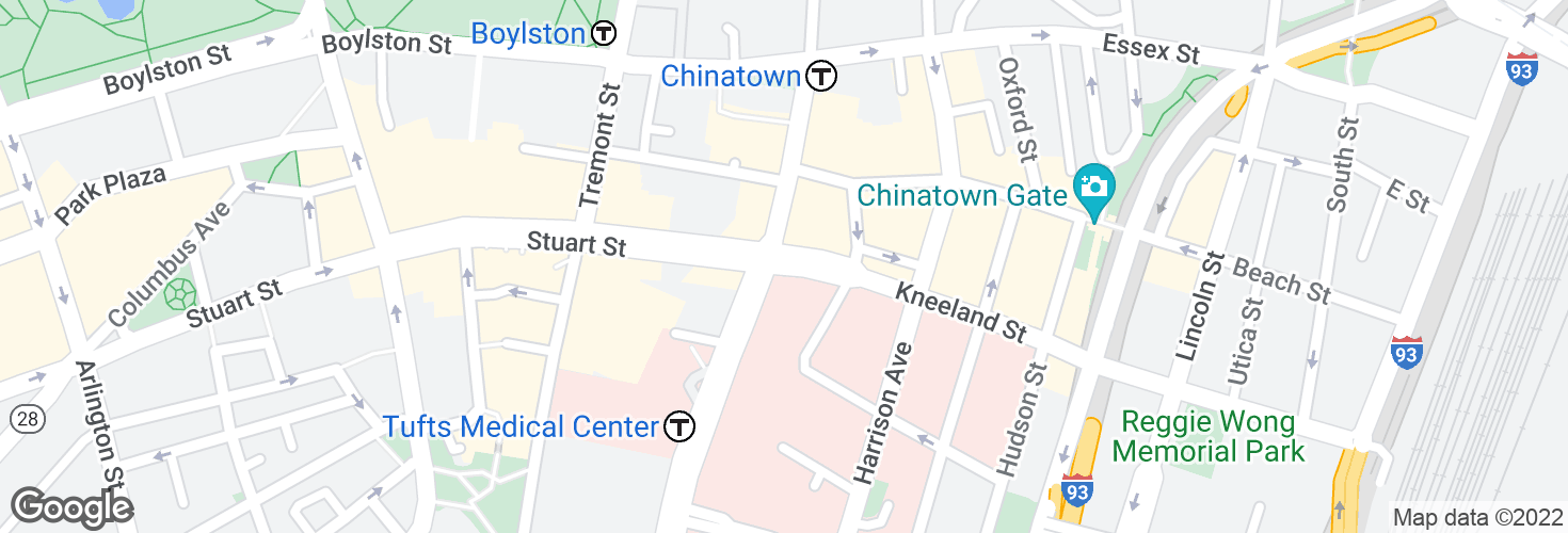 Map of Kneeland St @ Washington St and surrounding area