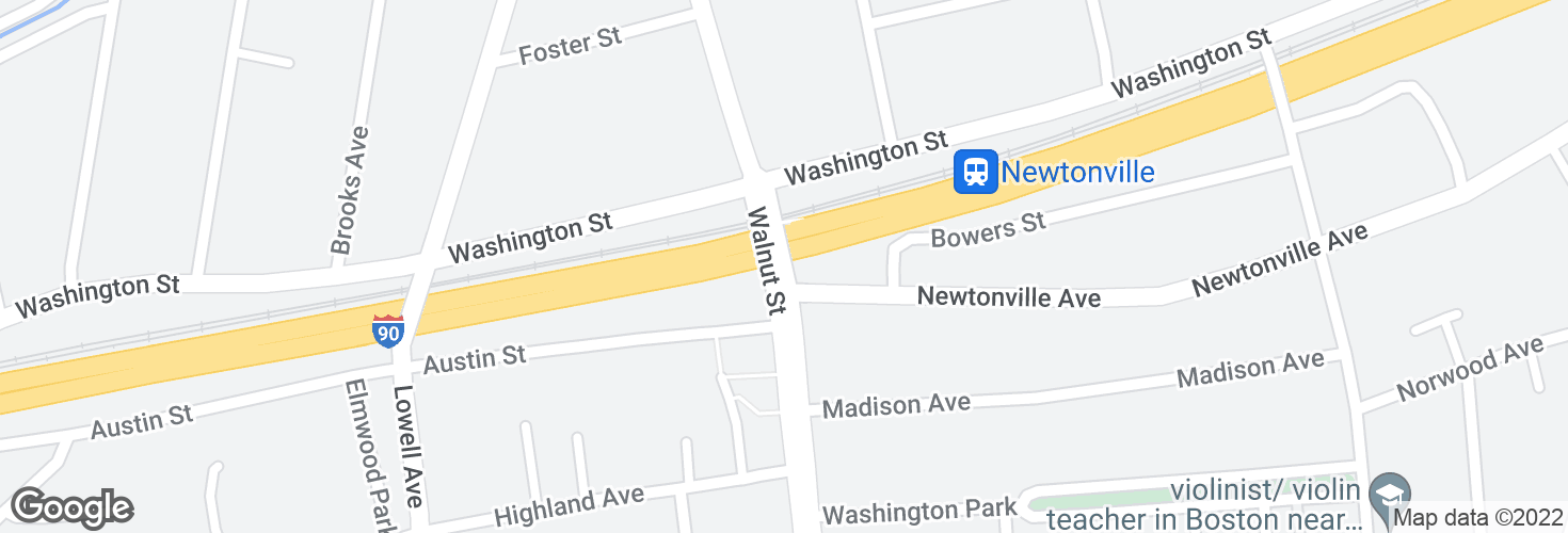 Map of Walnut St @ Newtonville Ave and surrounding area