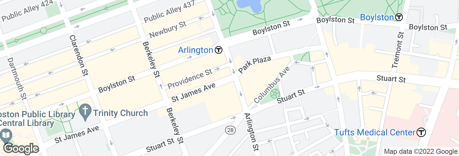 Map of Saint James Ave @ Arlington St and surrounding area
