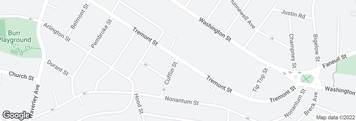 Map of Tremont St @ Cufflin St and surrounding area