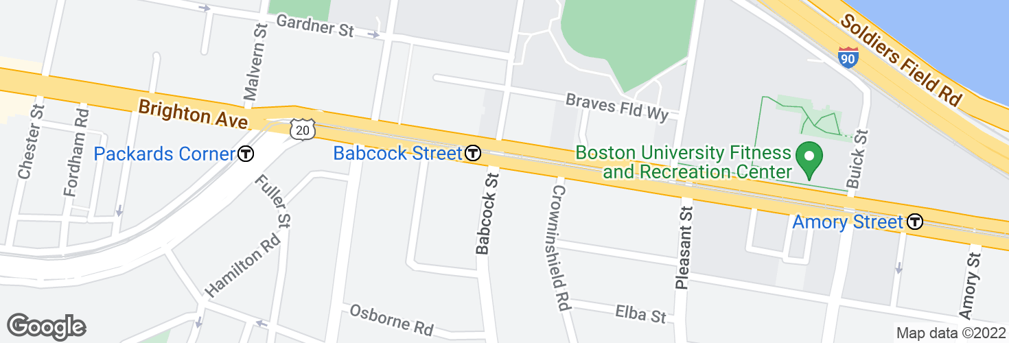 Map of Commonwealth Ave @ Babcock St and surrounding area