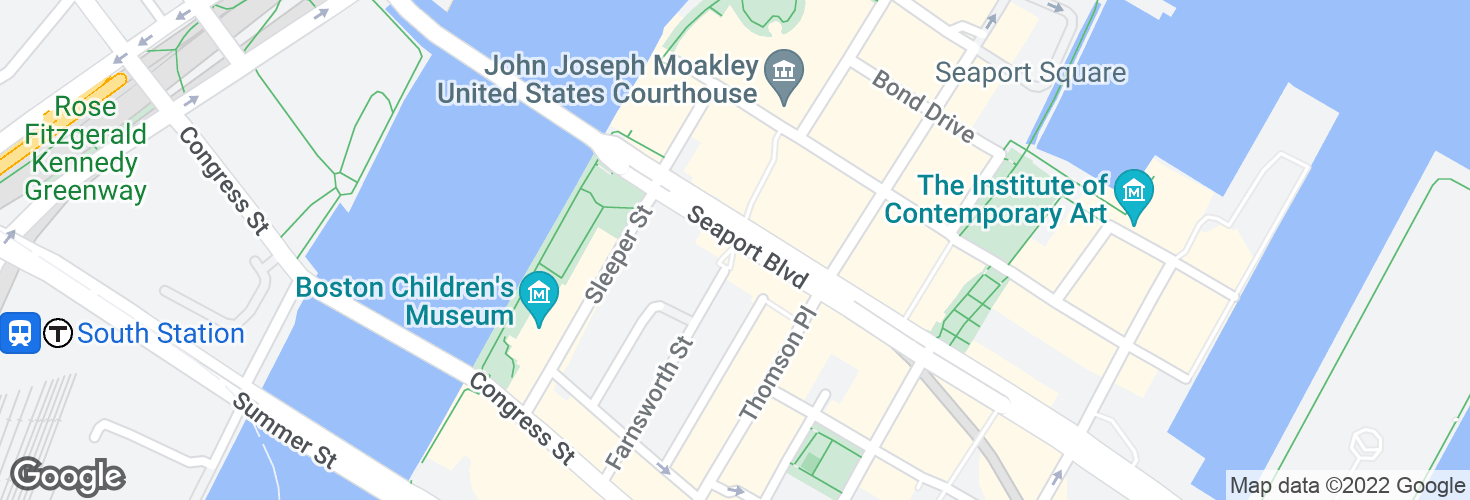 Map of Seaport Blvd @ Sleeper St and surrounding area