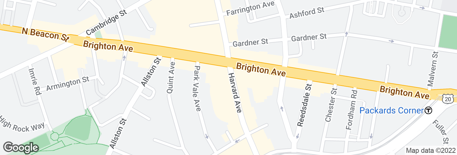 Map of Harvard Ave @ Brighton Ave and surrounding area
