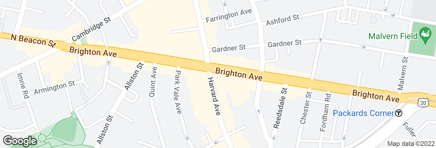 Map of Brighton Ave @ Harvard Ave and surrounding area
