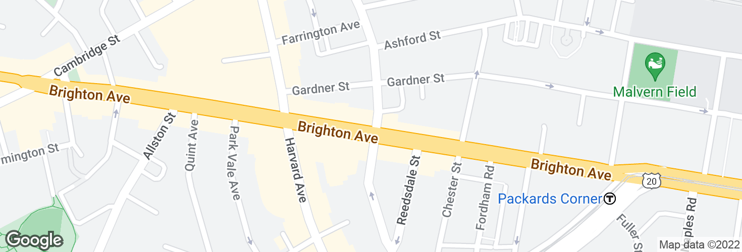 Map of Brighton Ave @ Linden St and surrounding area