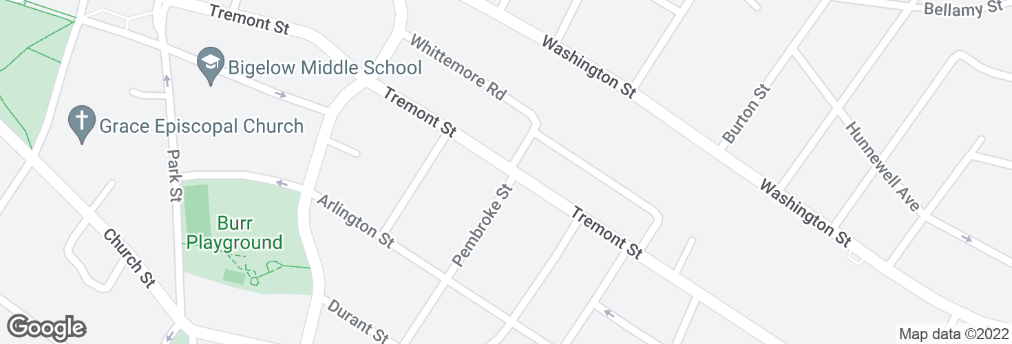 Map of Tremont St @ Pembroke St and surrounding area