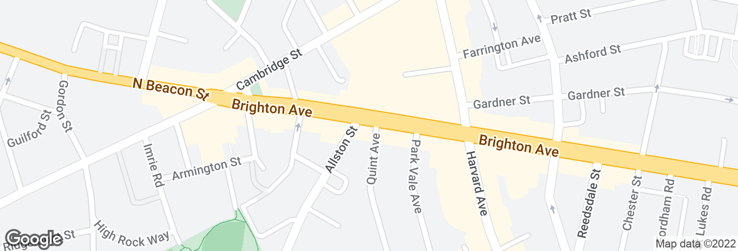 Map of Brighton Ave @ Allston St and surrounding area