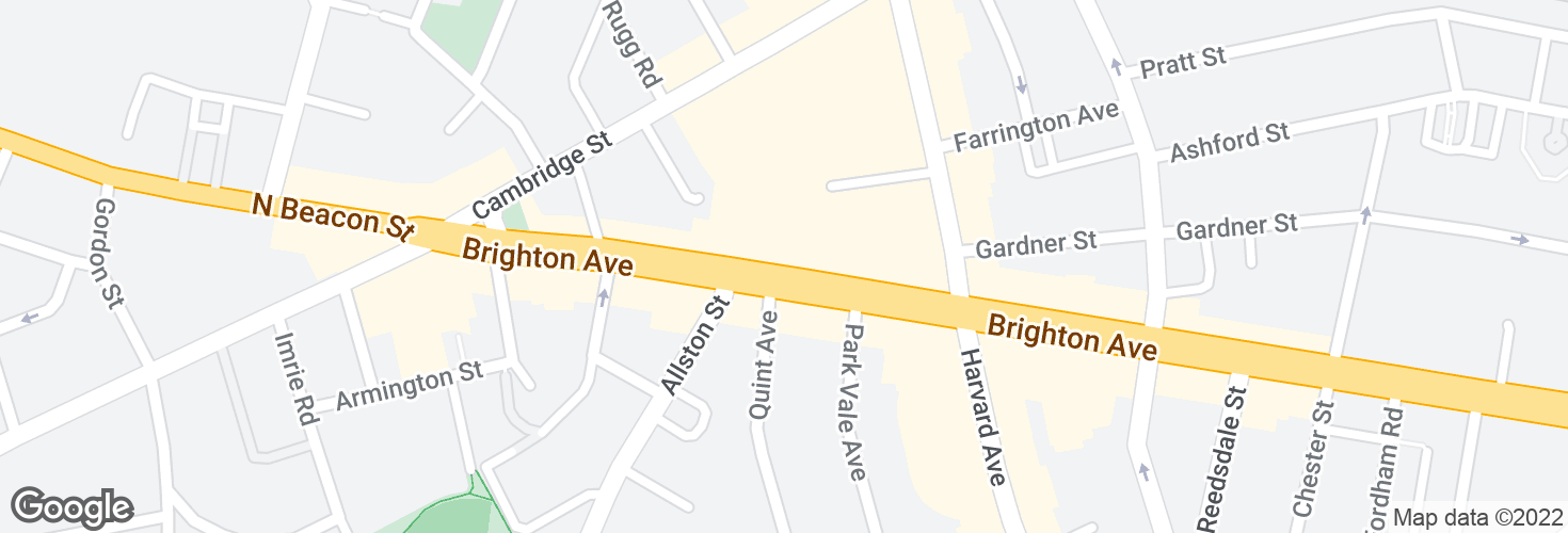 Map of Brighton Ave opp Quint Ave and surrounding area