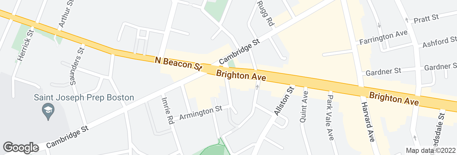 Map of Brighton Ave @ Cambridge St and surrounding area