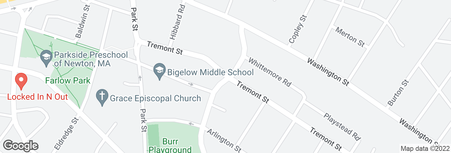 Map of Tremont St @ Waverley Ave and surrounding area