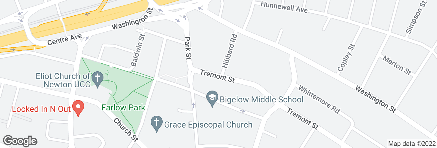 Map of Tremont St @ Hibbard Rd and surrounding area