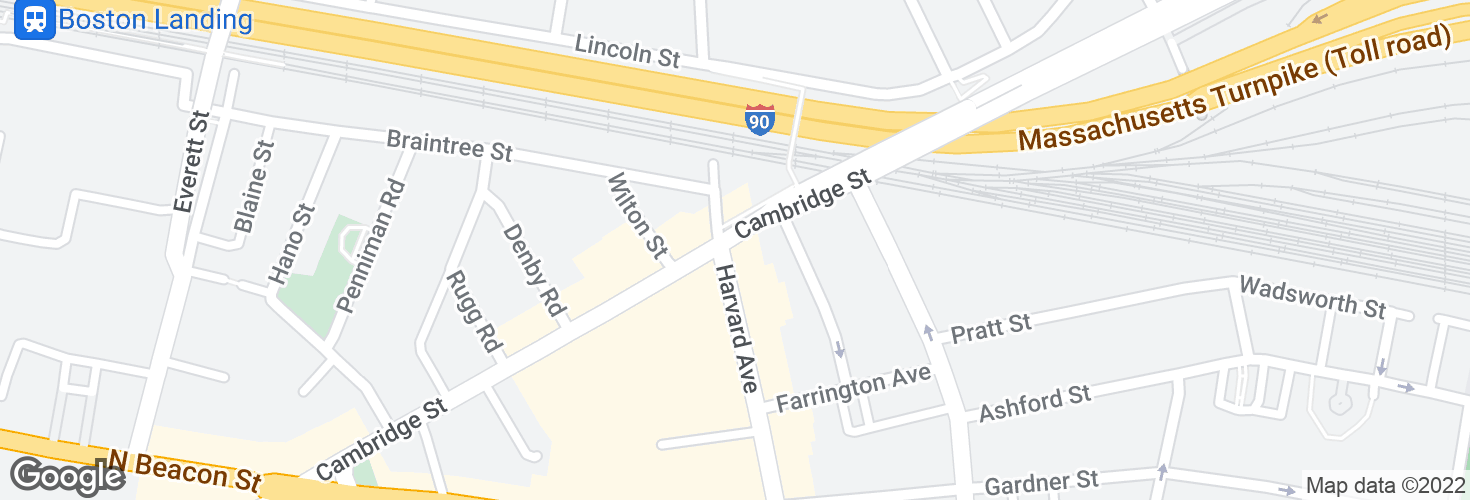 Map of Cambridge St @ Harvard Ave and surrounding area