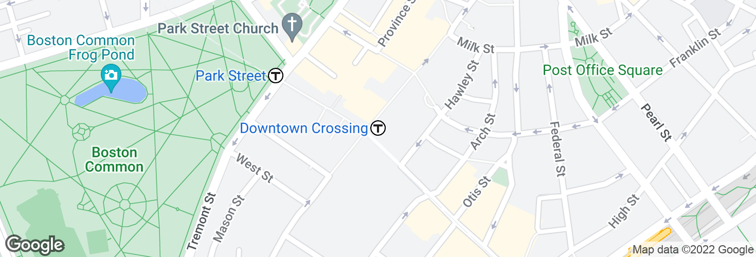 Map of Downtown Crossing and surrounding area