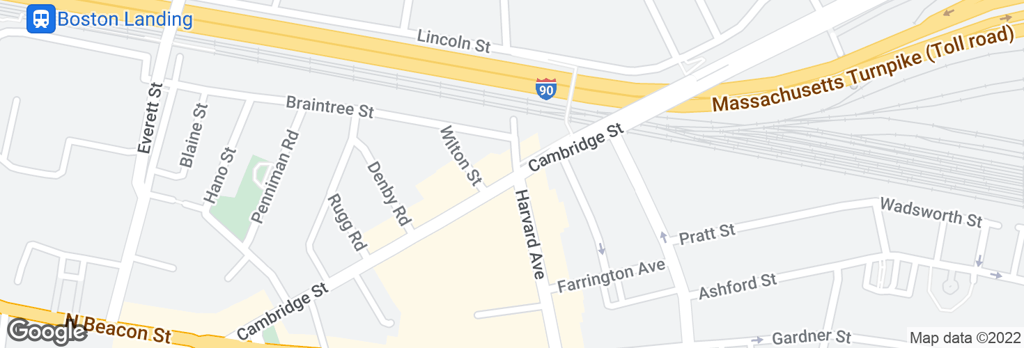 Map of Cambridge St @ Franklin St and surrounding area