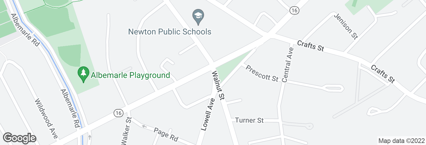 Map of Walnut St @ Watertown St and surrounding area