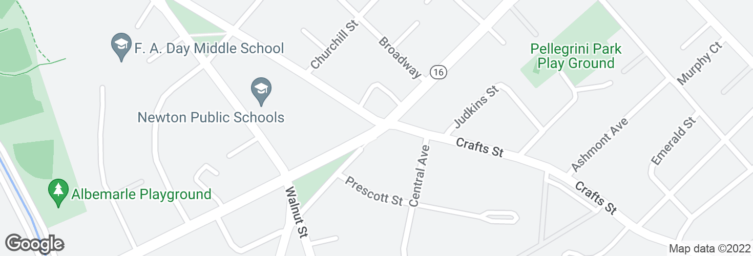 Map of Watertown St @ Craft St and surrounding area