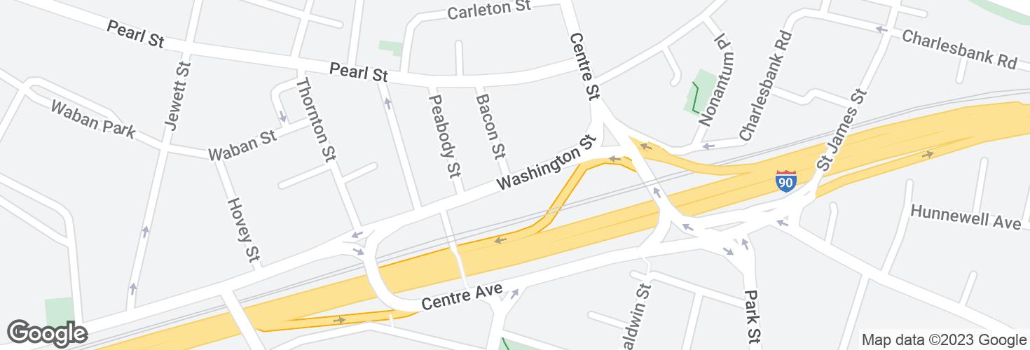 Map of Washington St @ Bacon St and surrounding area