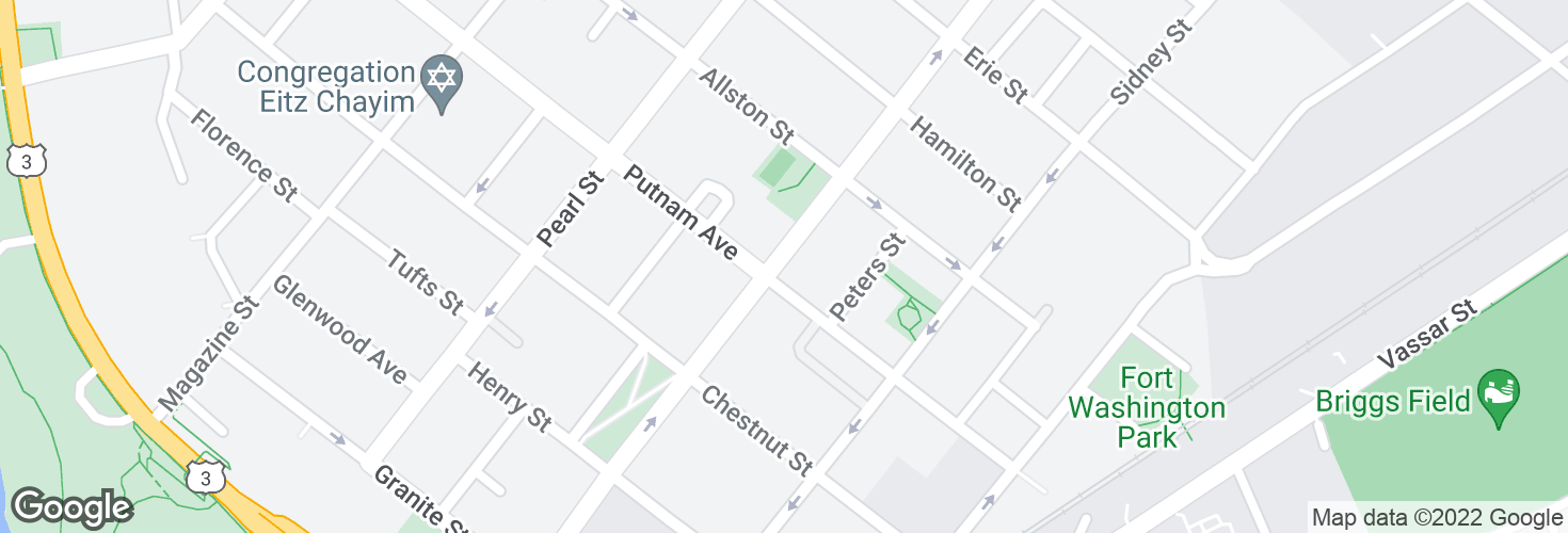 Map of Brookline St @ Putnam Ave and surrounding area