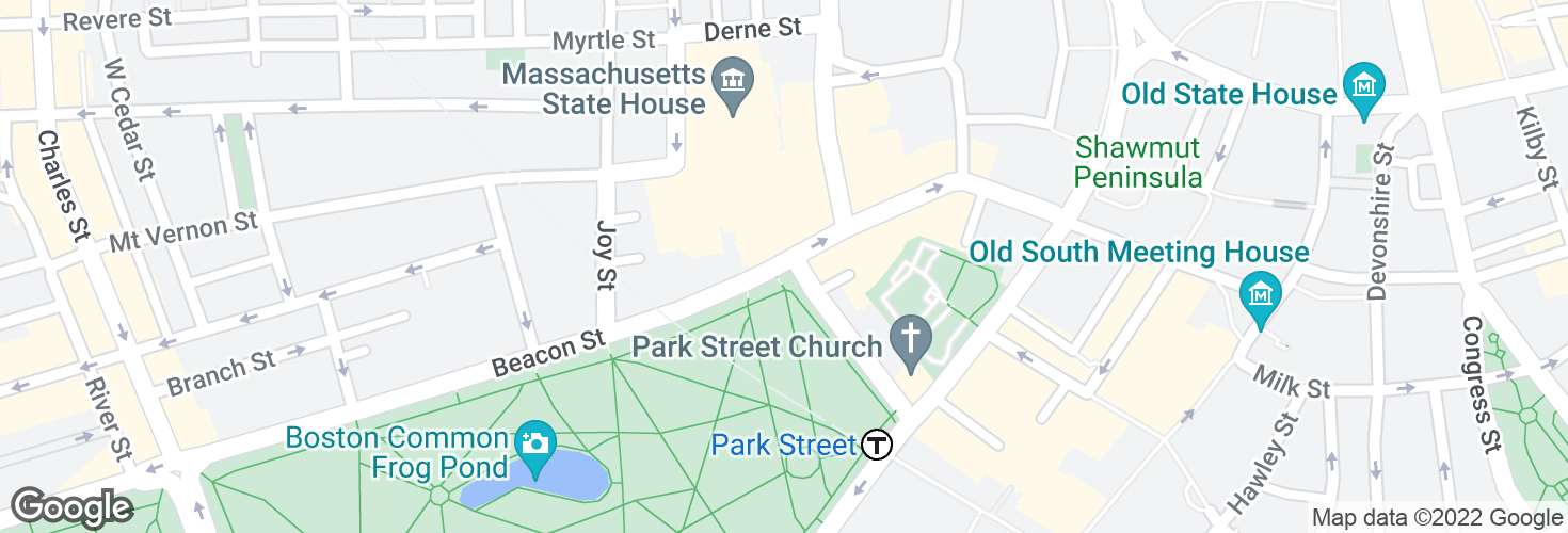 Map of Beacon St @ Park St and surrounding area