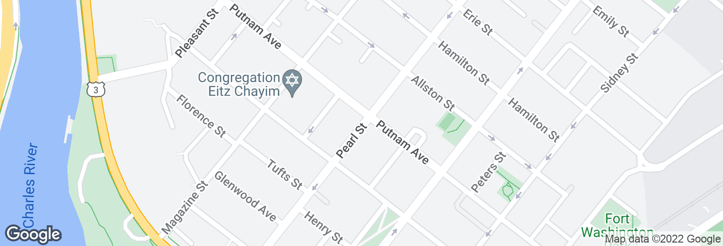 Map of Pearl St @ Putnam Ave and surrounding area