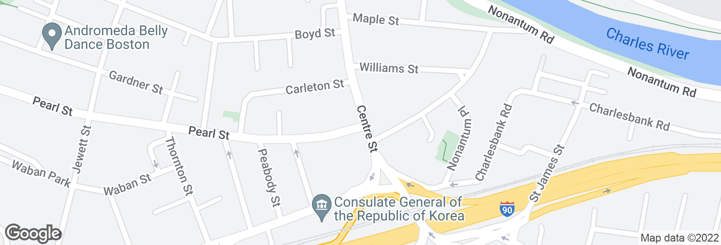 Map of Centre St @ Pearl St and surrounding area
