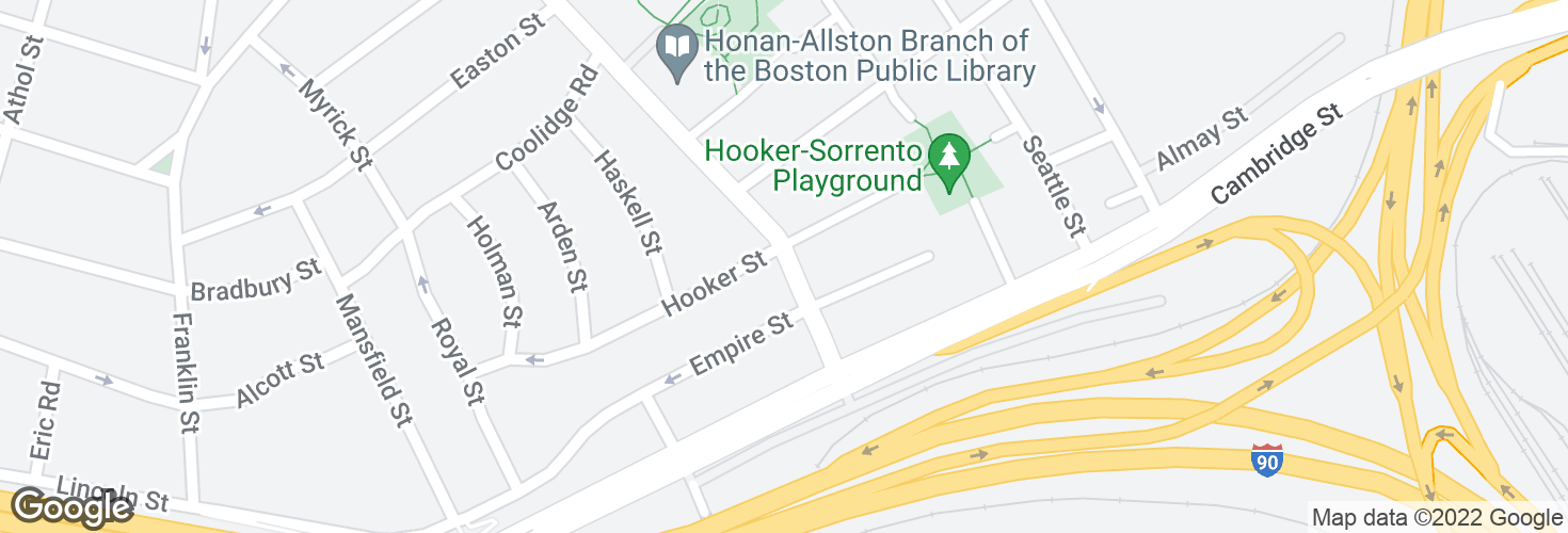 Map of N Harvard St @ Hooker St and surrounding area