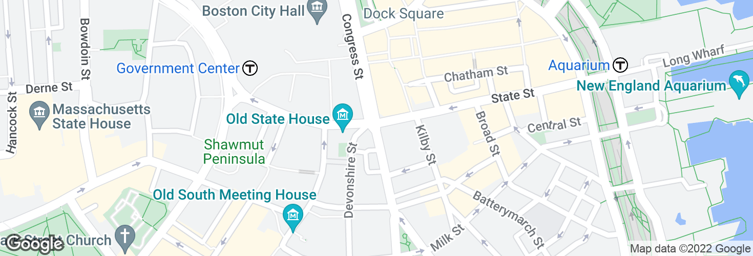 Map of Congress St @ State St and surrounding area