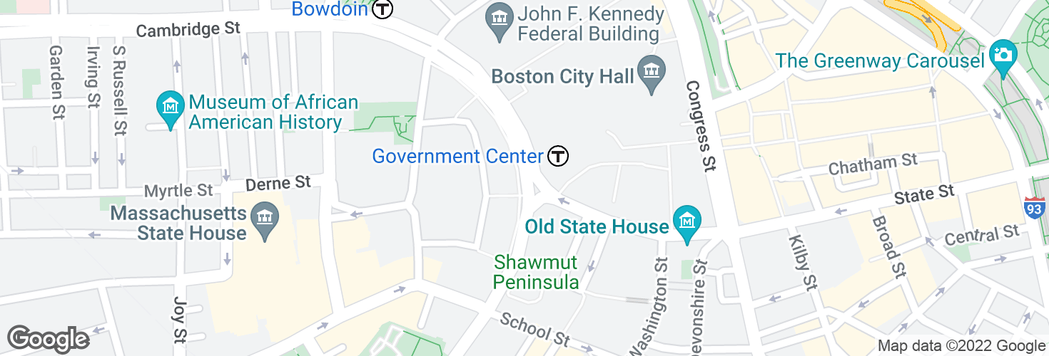 Map of Cambridge St @ Center Plaza - Gov't Ctr and surrounding area