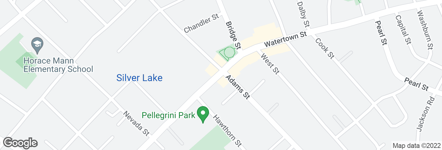 Map of Watertown St @ Adams St and surrounding area