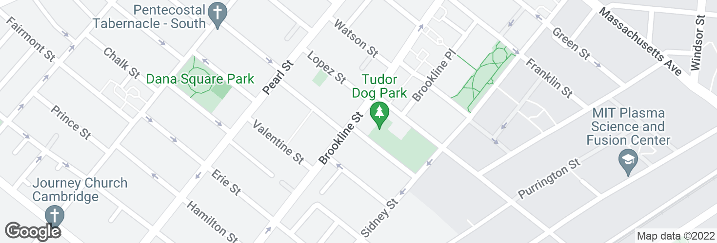 Map of Brookline St @ Tudor St and surrounding area