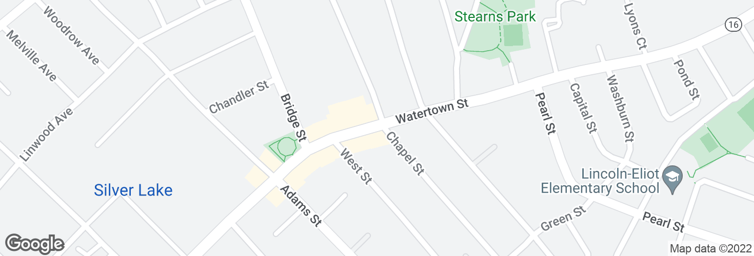 Map of Watertown St @ Chapel St and surrounding area