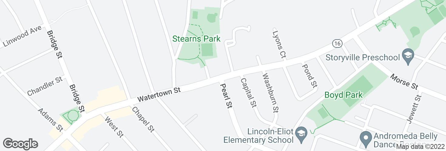 Map of Watertown St opp Pearl St and surrounding area