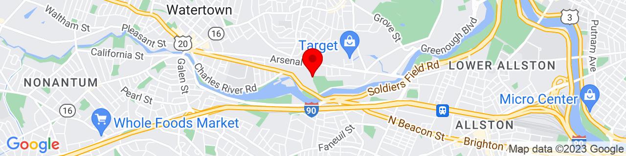 Google Map of 42.3616239, -71.16296249999999