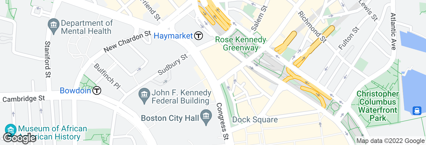Map of Congress St @ Haymarket Sta and surrounding area