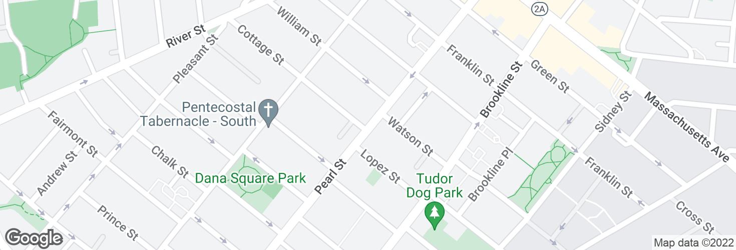 Map of Pearl St @ Cottage St and surrounding area