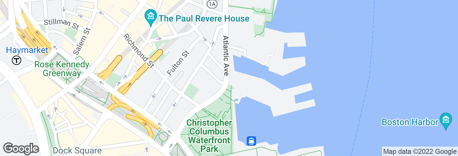 Map of Atlantic Ave @ Commercial Wharf and surrounding area