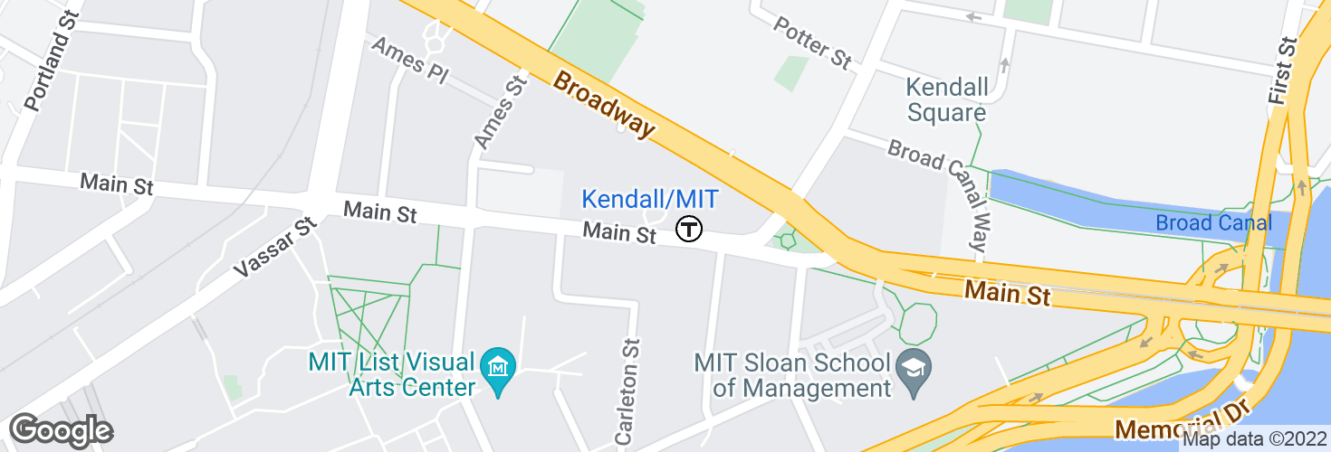 Map of Main St @ Kendall Station - Red Line and surrounding area