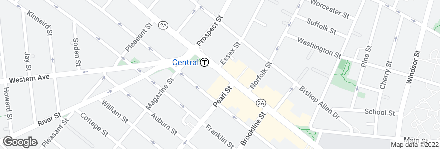 Map of Massachusetts Ave @ Pearl St and surrounding area