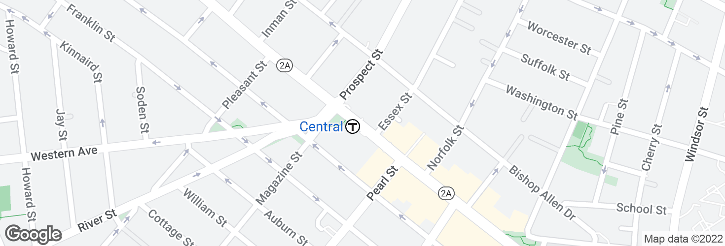 Map of Massachusetts Ave @ Prospect St and surrounding area
